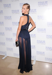 Erin showed off some serious leg in this sheer blue gown at the Bergdorf Goodman anniversary celebration.