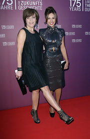 Birgit Schrowange's black strappy sandals were a perfect blend of edgy and sexy.