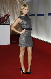 Sylvie van der Vaart attended the Bertelsmann party and looked chic in a Lanvin metallic shift dress.
