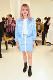 Maisie Williams was sporty-chic in a pastel-blue jacket and skirt set at the Helmut Lang fashion show.