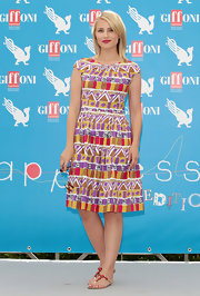Dianna Agron looked lovely in a colorful, tribal-print frock, which she sported at the Giffoni Film Festival.