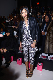 Zendaya Coleman attended the Betsey Johnson fashion show rocking a pair of spiked strappy sandals.