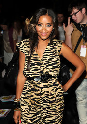 Angela Simmons showed off a cool fishbone braid while sitting front row at the Betsey Johnson show.