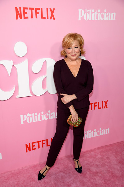 Bette Midler Pumps [season,pink,fashion,premiere,footwear,carpet,magenta,dress,event,flooring,red carpet,the politician,the politician season one premiere,bette midler,premiere,new york city,dga theater,netflix]