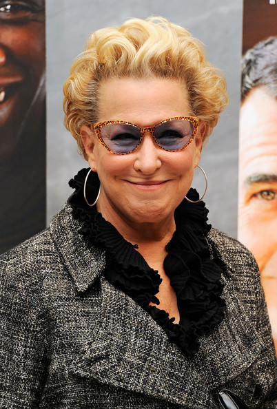 Bette Midler Short Curls [the intouchables screening,eyewear,hair,sunglasses,face,hairstyle,blond,glasses,beauty,fashion,vision care,bette midler,the paley center for media,new york city,screening]