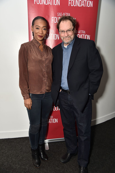 Betty Gabriel Ankle Boots [stephen root,betty gabriel,lil rel howery,sag-aftra foundation conversations: ``get out,premiere,event,suit,carpet,flooring,fashion design,robin williams center,new york city]