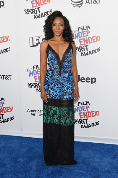 Betty Gabriel Embroidered Dress [clothing,dress,red carpet,carpet,premiere,fashion,shoulder,flooring,long hair,event,arrivals,betty gabriel,film independent spirit awards,santa monica,california]