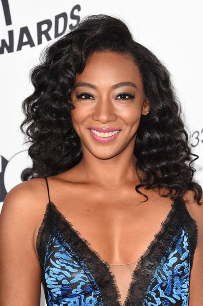 Betty Gabriel Long Curls [hair,hairstyle,black hair,long hair,eyebrow,beauty,ringlet,smile,brown hair,lace wig,arrivals,betty gabriel,film independent spirit awards,santa monica,california]