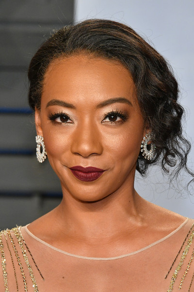 Betty Gabriel Curly Updo [oscar party,vanity fair,hair,face,eyebrow,hairstyle,lip,chin,skin,beauty,forehead,shoulder,beverly hills,california,wallis annenberg center for the performing arts,radhika jones - arrivals,radhika jones,betty gabriel]