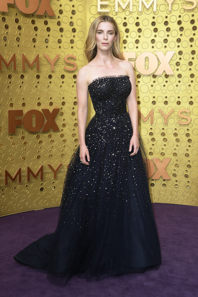 Betty Gilpin Strapless Dress [dress,gown,clothing,carpet,strapless dress,red carpet,flooring,hairstyle,shoulder,fashion,arrivals,betty gilpin,emmy awards,microsoft theater,los angeles,california]