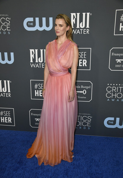 Betty Gilpin Wrap Dress [shoulder,dress,clothing,red carpet,carpet,premiere,hairstyle,joint,flooring,gown,arrivals,betty gilpin,critics choice awards,barker hangar,santa monica,california,zendaya,25th critics choice awards,red carpet,celebrity,film awards seasons,red carpet fashion,actor,television,billy porter,lupita nyongo]