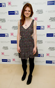 Rose Leslie's cutout print dress was a flirty and fun party frock.