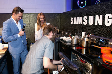 Bill Rancic Giuliana Rancic Chef Marcel Vigneron at the 'Cooking for Two' Home Appliance Event Held in Samsung Studio LA