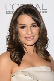 Lea Michele glowed on the red carpet. Her brunette tresses were completed with side swept bangs.
