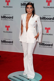 Eva Longoria's plunging white Elisabetta Franchi jumpsuit at the Billboard Latin Music Awards was a perfect mix of menswear chic and feminine allure!