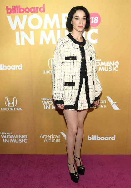 More Pics of St. Vincent Bob (1 of 3) - Short Hairstyles Lookbook - StyleBistro [clothing,fashion model,fashion,premiere,carpet,footwear,red carpet,leg,outerwear,flooring,billboard women in music 2018,arrivals,new york city,st. vincent]