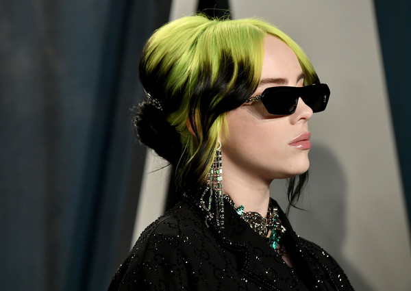 Billie Eilish Diamond Chandelier Earrings [eyewear,hair,sunglasses,hairstyle,glasses,cool,street fashion,blond,lip,hair coloring,radhika jones - arrivals,radhika jones,billie eilish,beverly hills,california,wallis annenberg center for the performing arts,oscar party,vanity fair,billie eilish,no time to die,james bond,where do we go? world tour,musician,grammy awards,oscar party,ariana grande]