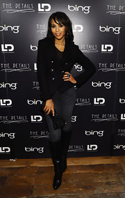 Kerry opted for a casual evening style in jeans and a double breasted blazer.