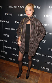 Arielle stayed warm at the 'I Melt with You' cast dinner in a zig-zag knit evening coat.