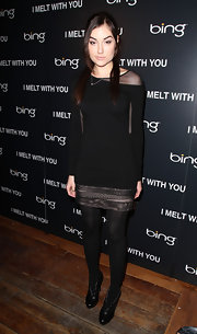 "Sasha Gray attended the ""I Melt With You"" cast dinner in black leather ankle boots."