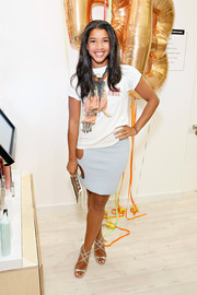 Hannah Bronfman dressed up her casual outfit with a glamorous pair of Jimmy Choo Lance sandals.