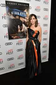 Sandra Bullock was all about modern glamour in a structured strapless gown by Vivienne Westwood at the screening of 'Bird Box.'