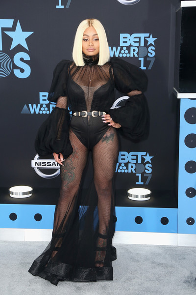 Blac Chyna Jumpsuit [clothing,fashion,thigh,fashion show,leg,carpet,event,muscle,model,flooring,arrivals,blac chyna,bet awards,microsoft square,los angeles,california]