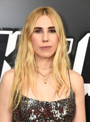 Zosia Mamet went hippie with this messy center-parted 'do at the New York premiere of 'BlacKkKlansman.'