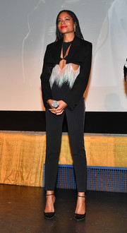 Naomie Harris looked cool and sexy in a black pantsuit with silver fringe detailing at the Atlanta special screening of 'Black and Blue.'