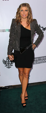 Fergie donned a shimmering evening jacket for The Black Eyed Peas benefit concert.