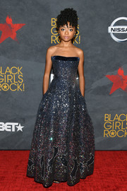 Skai Jackson sparkled like a starry night in this embellished strapless gown by Ong-Oaj Pairam during Black Girls Rock! 2017.