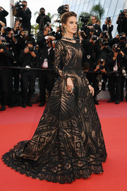 Alessandra Ambrosio looked opulent in an embroidered black ball gown by Zuhair Murad Couture at the Cannes Film Festival screening of 'BlacKkKlansman.'