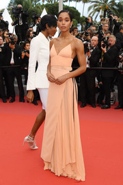 Laura Harrier donned an elegant peach Louis Vuitton gown for the Cannes Film Festival screening of 'BlacKkKlansman.'