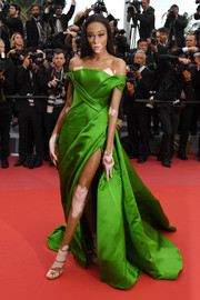Winnie Harlow looked gorgeous in a structured kelly-green off-the-shoulder gown by Ralph & Russo Couture at the Cannes Film Festival screening of 'BlacKkKlansman.'