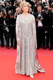 Jane Fonda went diva-glam in a fully beaded silver gown and a matching coat by Valentino Couture for the Cannes Film Festival screening of 'BlacKkKlansman.'