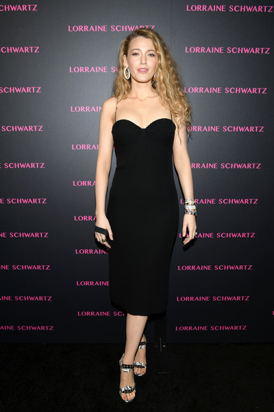 Blake Lively Studded Heels [little black dress,dress,fashion model,cocktail dress,beauty,shoulder,lady,flooring,formal wear,girl,evil eye collection - arrivals,lorraine schwartz,blake lively,delilah,addition,signature,west hollywood,california,the eye bangle,evil eye collection]