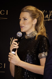Blake Lively made a ponytail look so glamorous when she attended a photocall in Dubai.