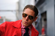 Slicked-back hair and a pair of classic aviators gave Lapo Elkann a fashionable retro look.