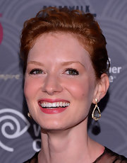 Wrenn Schmidt paired dangling crystal earrings with a sophisticated updo for her elegant red carpet look during the 'Boardwalk Empire' season four premiere.