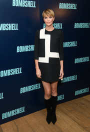 Charlize Theron went mod in a geometric-print mini dress by Dior at the New York screening of 'Bombshell.'