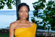 Naomie Harris attended the 'Bond 25' film launch wearing her hair in half-up curls.