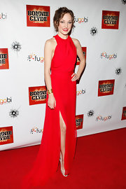 Laura Osnes was red hot in a silk chiffon evening gown with a hip-high slit for the 'Bonnie & Clyde' Broadway opening.