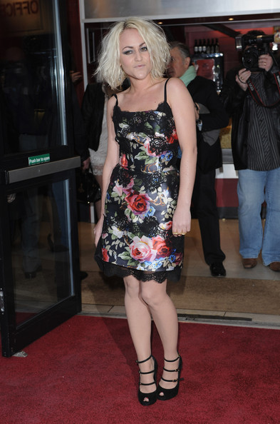 Jamie Winstone walked the red carpet at the Boogie Woogie Gala in an on-trend floral frock.
