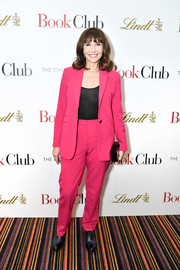 Mary Steenburgen teamed a fuchsia suit with a tight black shirt for the New York screening of 'Book Club.'