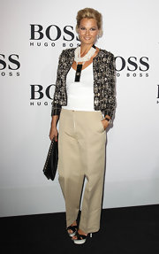 Franziska paired her tweed jacket with a beaded statement necklace.