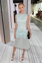 Kate Bosworth teamed her beautiful dress with modern-chic two-tone sandals, also by BOSS.