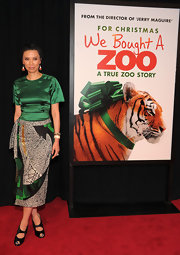Wendi Deng showed her pedicured nails in a pair of peep-toe pumps at the 'We Bought a Zoo' premiere.