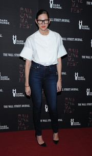 Jenna Lyons boldly pulled off the high-waisted jeans look during the screening of 'Boyhood.'
