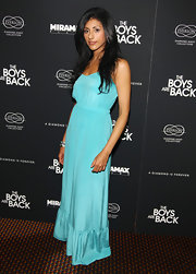 Reshma Shetty looked darling in an aqua maxi dress at the premiere of 'The Boys are Back.'