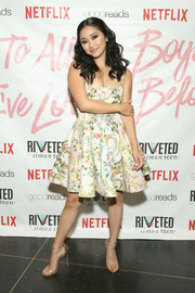 Lana Condor finished off her look with elegant gold sandals.